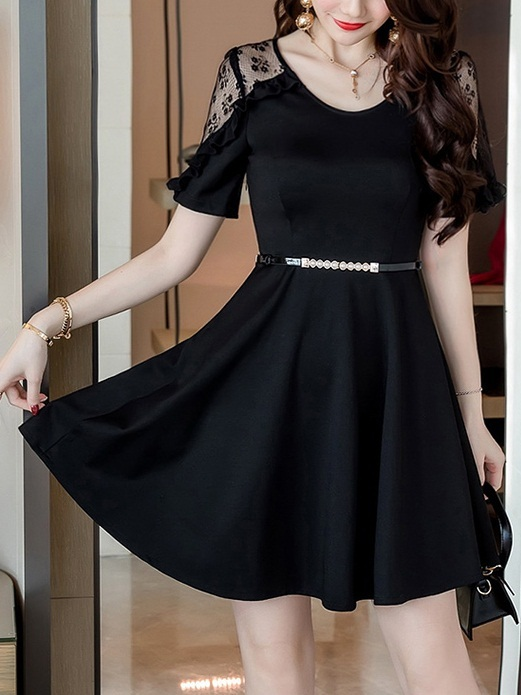 (Bust 84-114CM) Marni Lace Sleeve Swing Dress (With Belt)