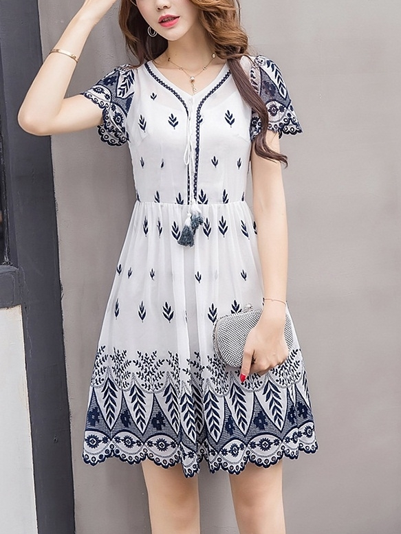 (Bust 84-114CM) Marnette Embroidery Dress