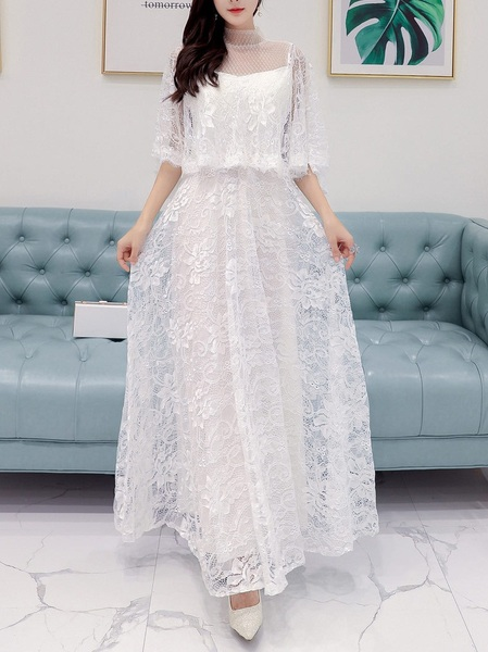 (Bust 86-122CM) Marlyn High-neck Lace Maxi Gown Dress