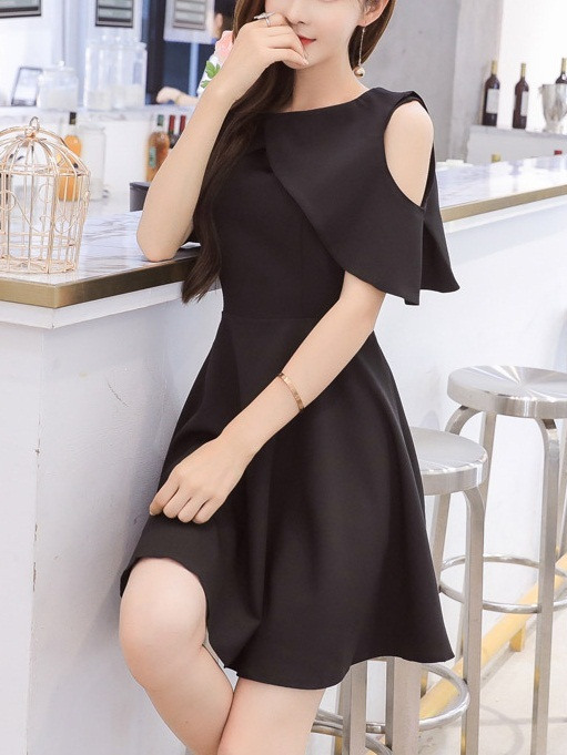 (Bust 88-116CM) Marly Cape Swing Off Shoulder Dress