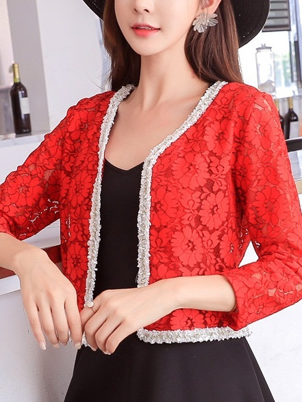 (Bust 92-118CM) Marlowe Lace Trim Jacket