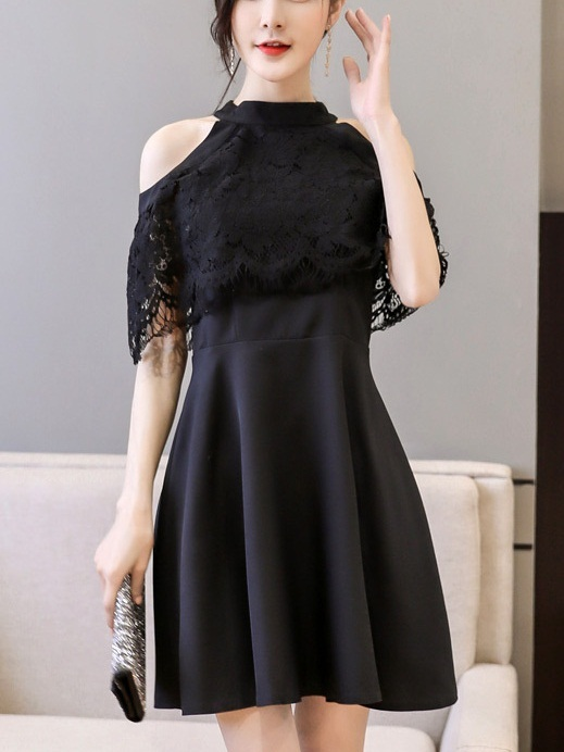 (Bust 88-116CM) Marlow Choker Lace Swing Dress