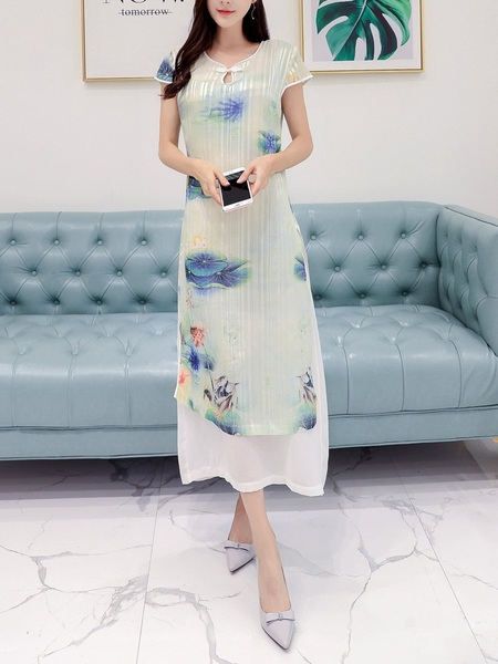 (Bust 88-124CM) Marlise Painting Qipao Midi Dress