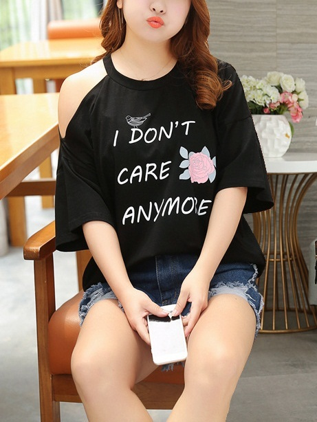 Masika I Don't Care Choker Off Shoulder Tee