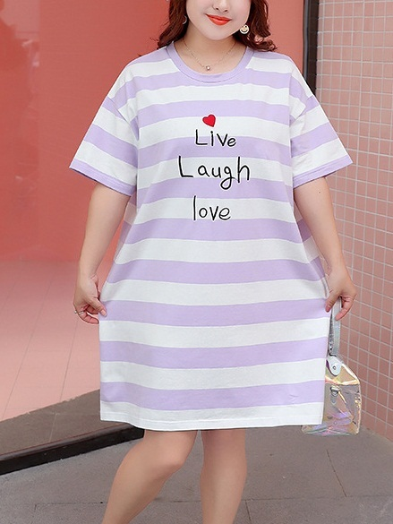 Masae Stripe Heart Dress (EXTRA BIG SIZE)