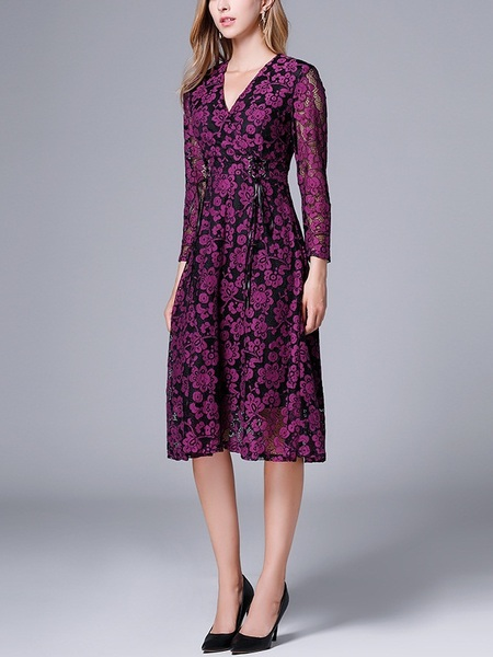 Maurine Purple Lace Wrap Corset Tie Dress