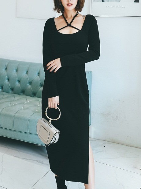 Maybelle Cross Slit Midi Dress