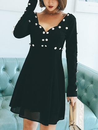 Maye Button Sweetheart Swing Dress