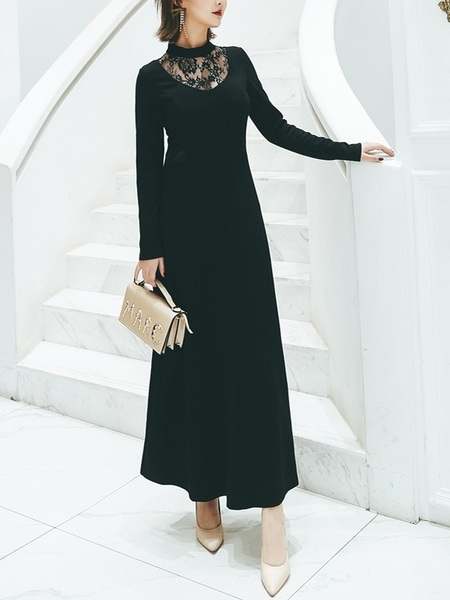 Mayela High-neck Lace Knit Maxi Dress