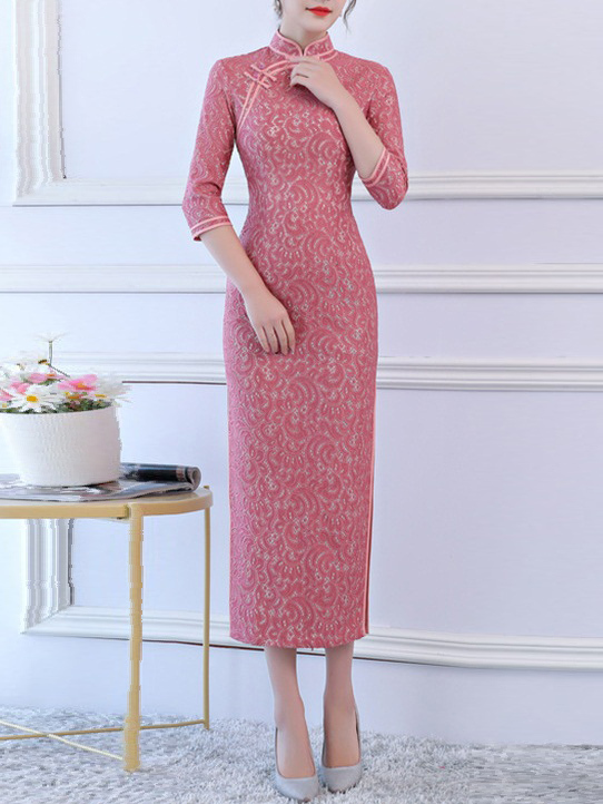 Megane (Bust 84-108CM) Lace Fitting Maxi Qipao Dress (F)