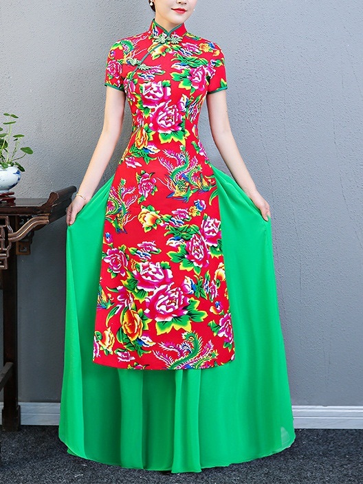 Megan (Bust 83-110CM) Green Layer Maxi Qipao Dress