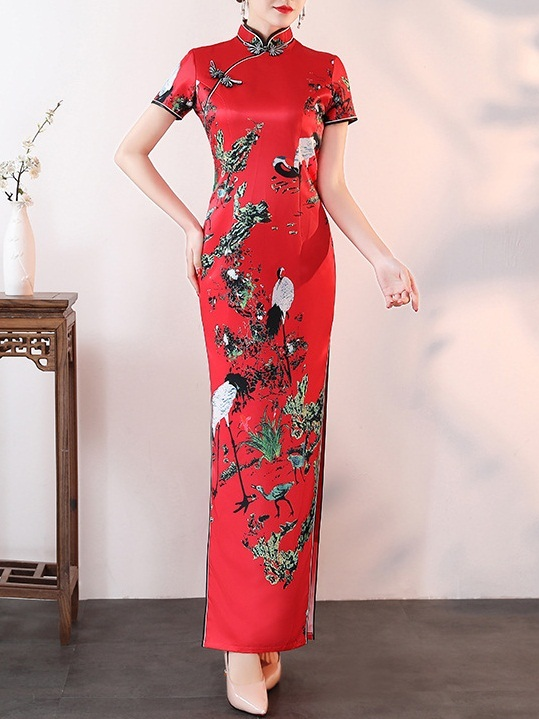 Meg (Bust 83-110CM) Red Chinese Cranes Maxi Qipao Dress