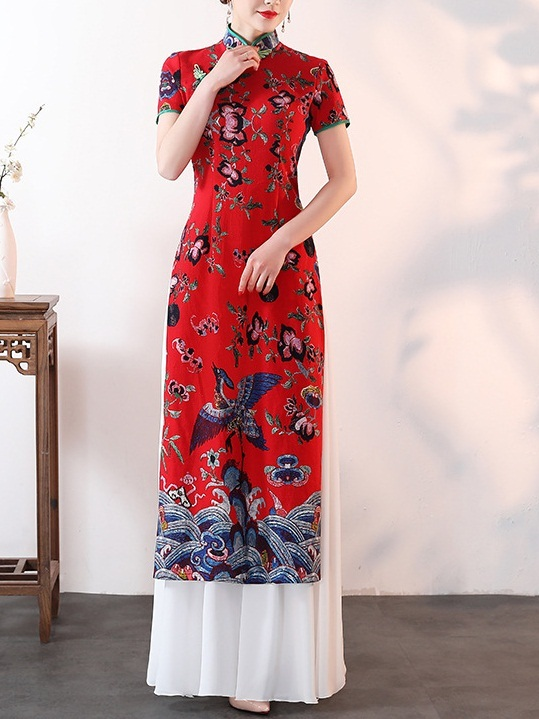 Meeta (Bust 83-110CM) Red Layer Maxi Qipao Dress