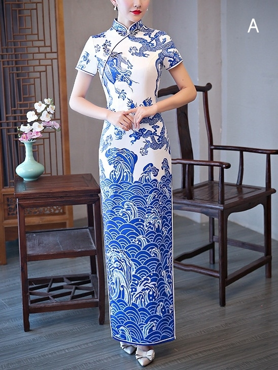 Meesa (Bust 83-110CM) Porcelain China Maxi Qipao Dress (5 Patterns - A to E)