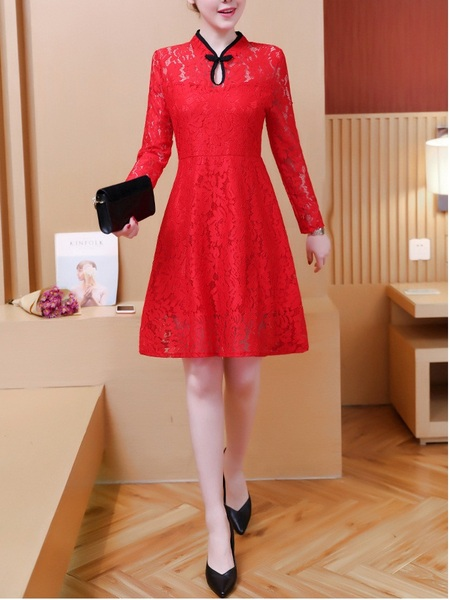 Meegyn (Bust 90-115CM) Lace Swing Qipao Dress