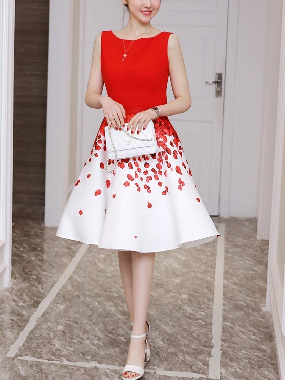 Medina (Bust 84-114CM) Red Floral Flounce Dress