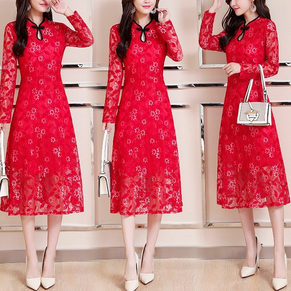Medhani (Bust 95-120CM) Lace Midi Qipao Dress