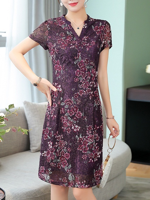 Mecca (Bust 86-106CM) Floral Lace Shirt Dress