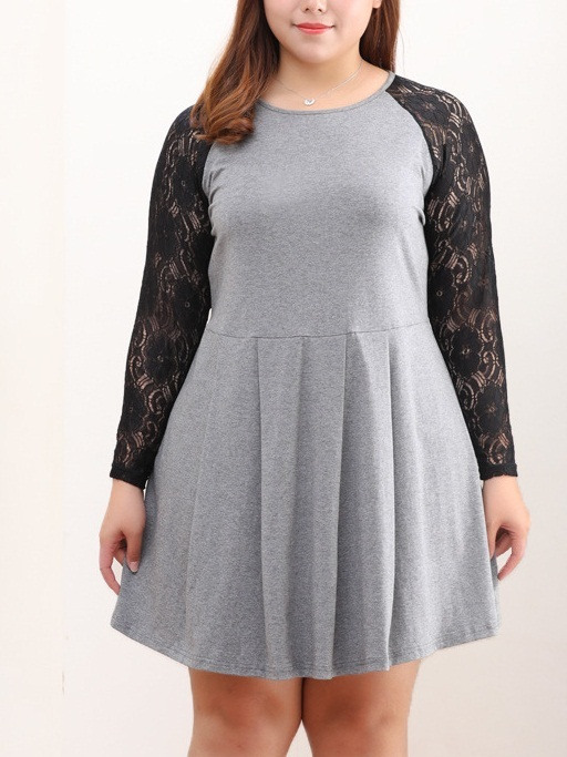 Mariyah Lace Sleeve Skater Dress (EXTRA BIG)
