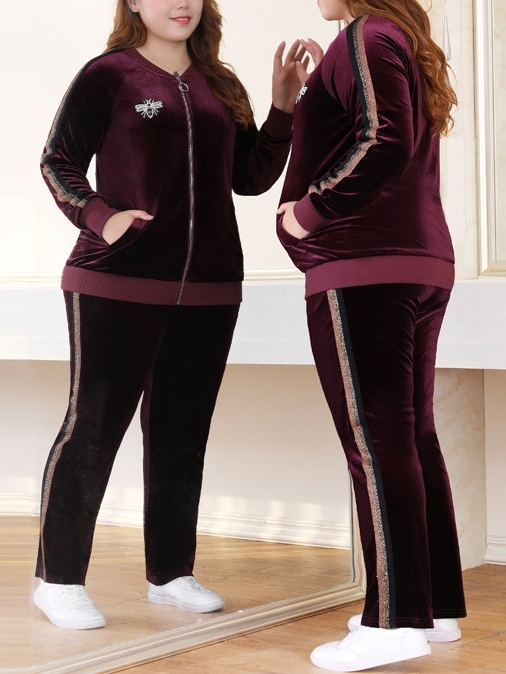 Marlizy Velvet Bee Jacket and Track Pants Set (EXTRA BIG)