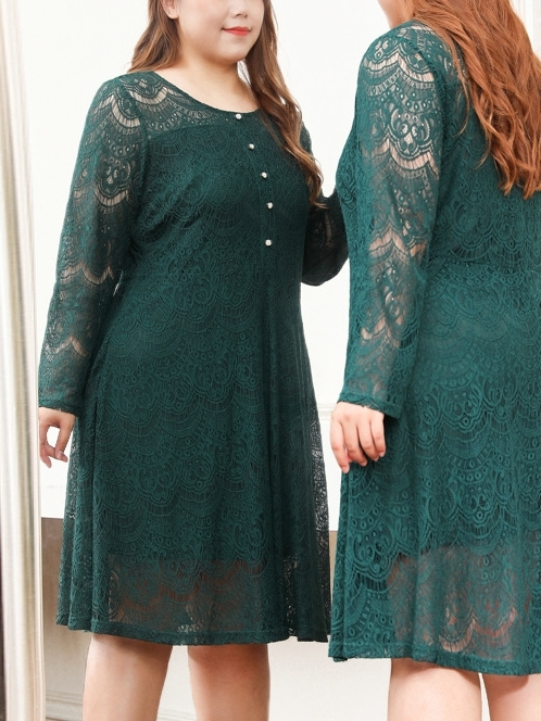 Menla Green Lace Dress (EXTRA BIG SIZE)