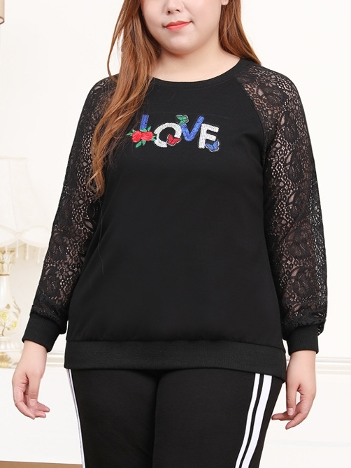 Mebra LOVE Lace Sleeve L/s Top Sweater (EXTRA BIG SIZE)