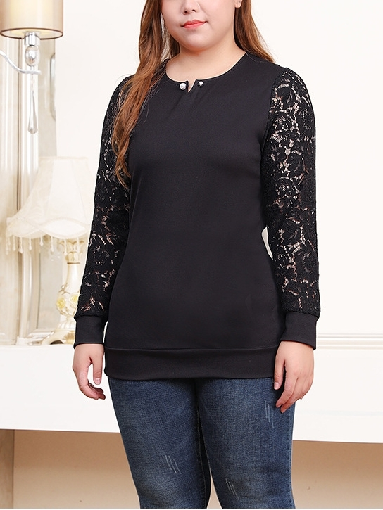 Mekkle Lace Sleeve L/s Top (EXTRA BIG SIZE)