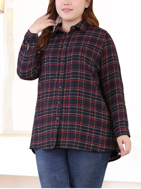 Mevva Fleece-inside Checks L/s Shirt Top (EXTRA BIG SIZE)