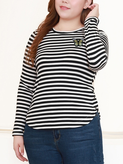 Melliza Butterfly Stripe L/s Top (EXTRA BIG SIZE)