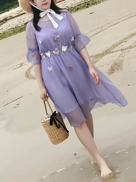 Applique Purple Dress