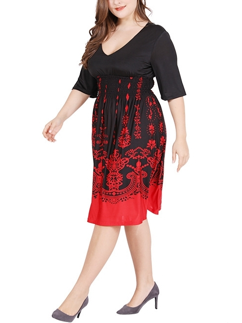 Red and Black Pattern Dress  (EXTRA BIG SIZE)