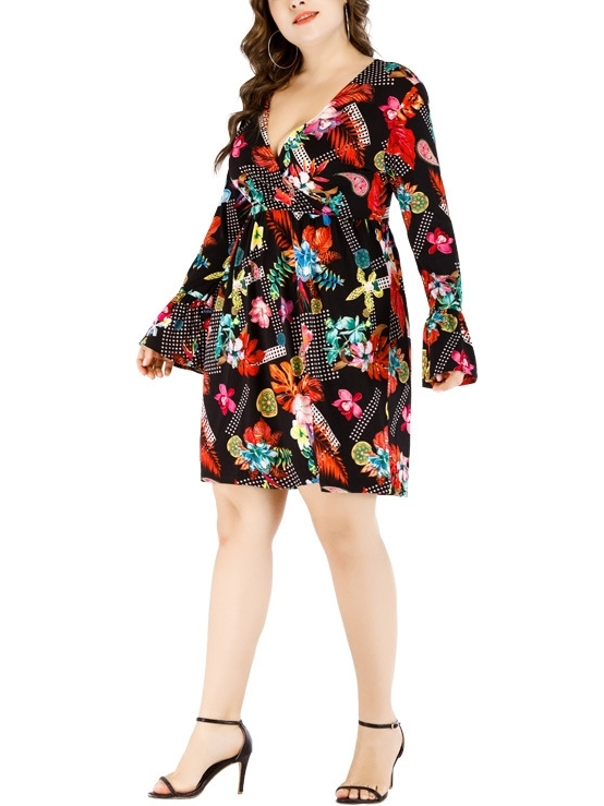 Printed Wrap Bell Sleeve Dress (EXTRA BIG SIZE)