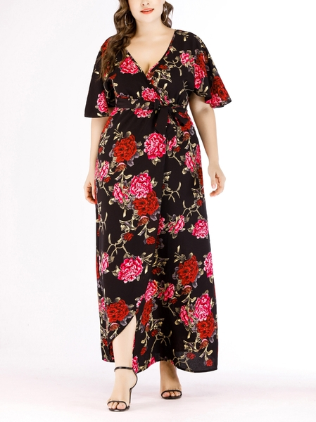 Wrap Floral Maxi Dress (EXTRA BIG SIZE)