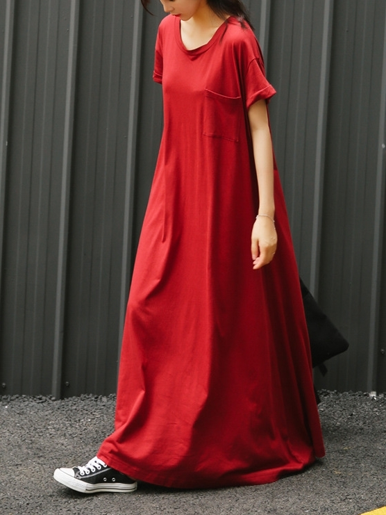 Oversized Red Maxi Cotton Tee Dress