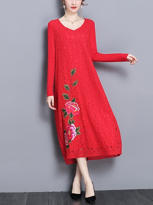 Lace Floral Applique Midi Dress