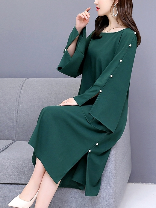 Pearl Flare Sleeve Midi Dress