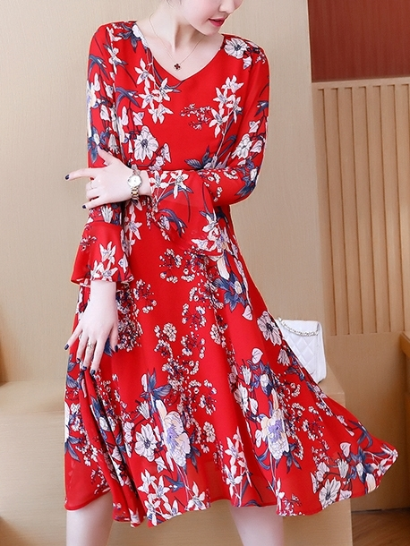 Red Floral Swing Dress