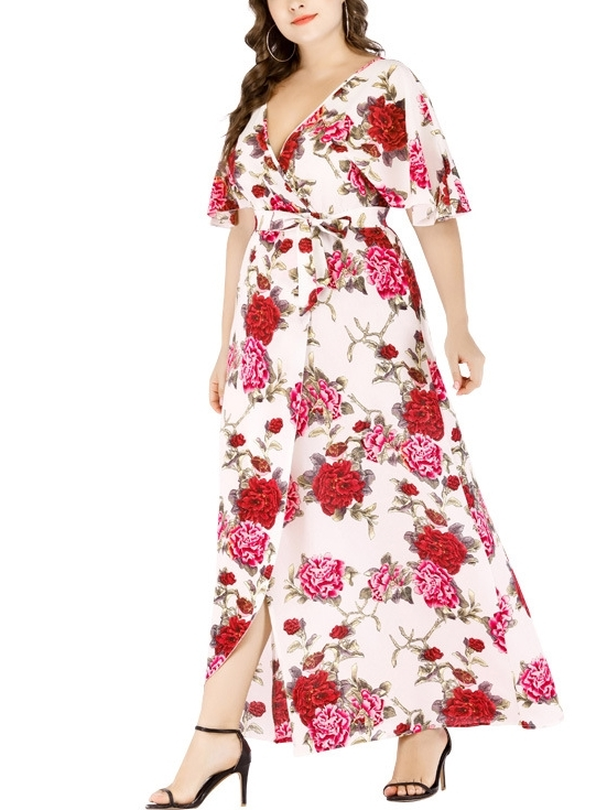 White Wrap Floral Maxi Dress  (EXTRA BIG SIZE)