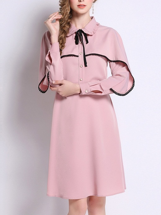 Merula Pink Trim Cape L/s Shirt Dress