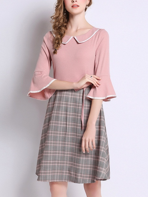 Merveille Pink Collar Checks Dress