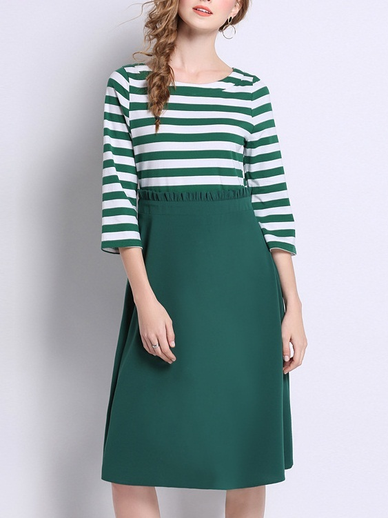 Mesa Green Stripe Mock 2 Piece Dress