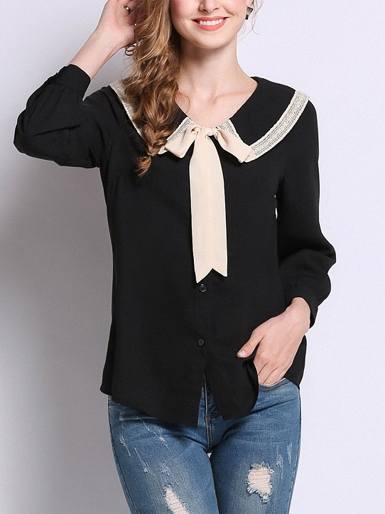 Meta Ribbon Collar Shirt Blouse