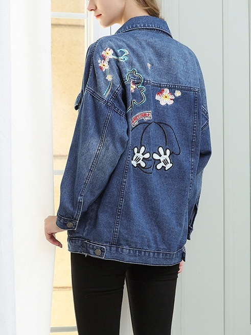 Metta Floral Embroidery Denim Jacket