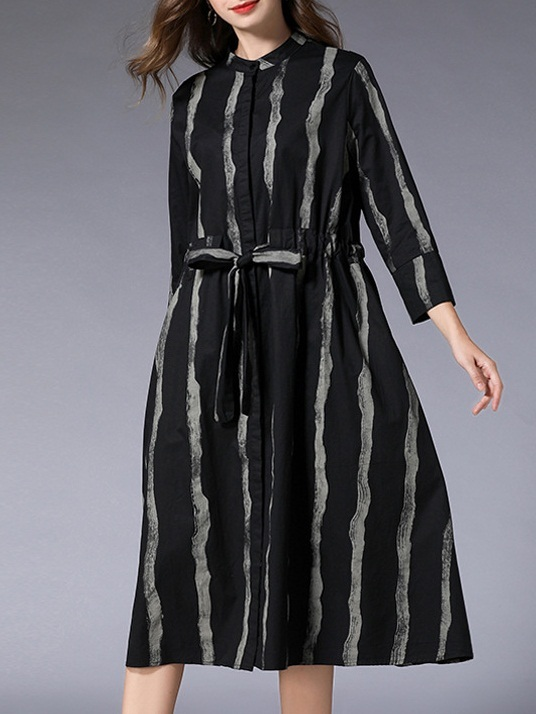 Meya Stripe Midi Shirt Dress