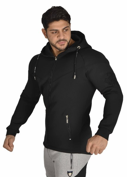 Men's Black Zipper Stretch Hoodie Jacket Stilya 3617