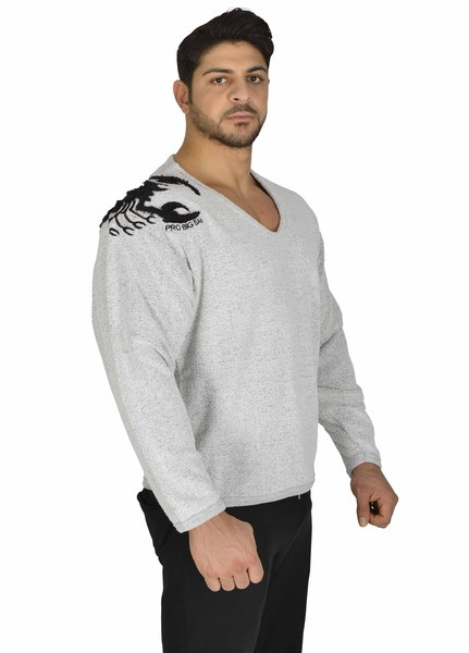 Men Relaxed Cut Grey  Sweater Training Wear Gym Wear Muscle Wear