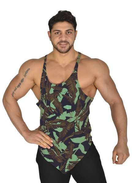 *2284* Green Leaf Tank Top Muscelshirt Big Sam