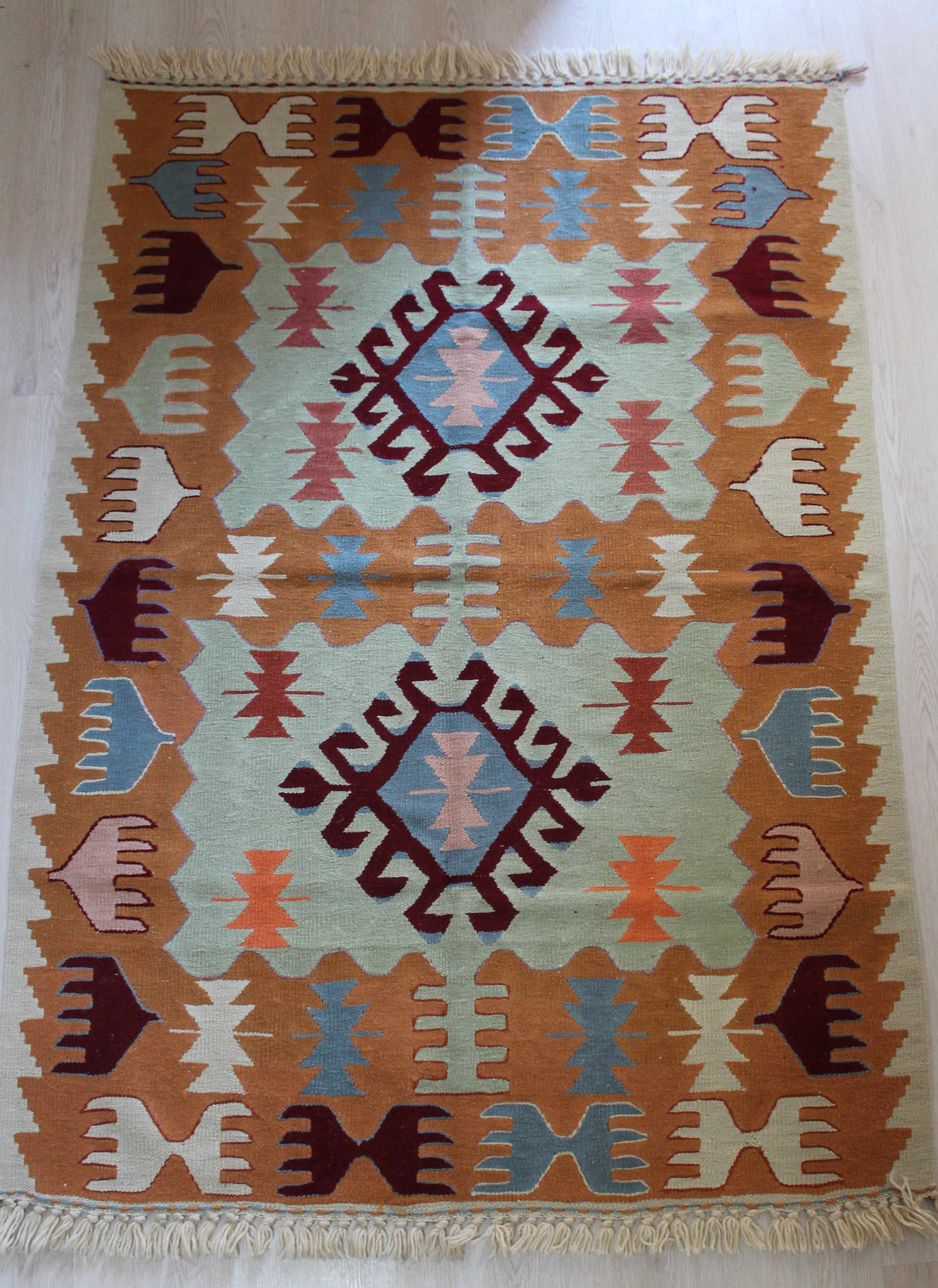 Turkish Vegetable Dyed Oushak Kilim Rugs