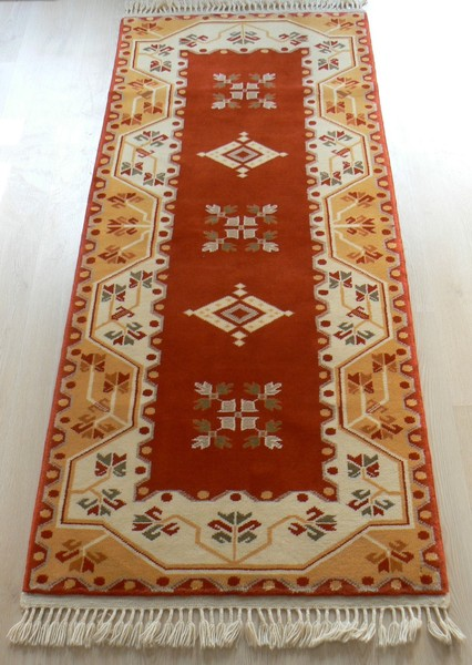 Turkish, Milas Handmade Runner Rug