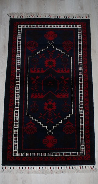 Turkish, Handmade Claret Red Rug